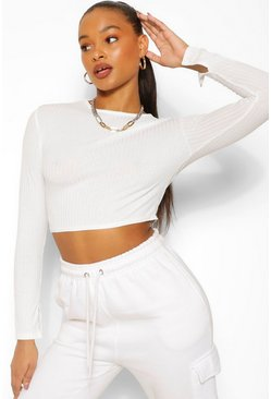 Ecru white High Neck Split Cuff Knitted Rib Jumper