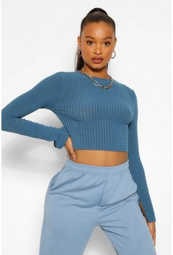 Teal green High Neck Split Cuff Knitted Rib Jumper