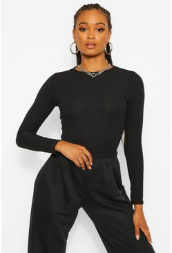 Black Crew Neck Long Sleeve Knitted Top