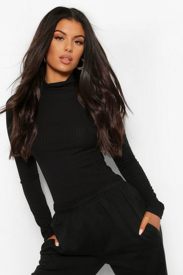 Black Turtle Neck Knitted Rib Top
