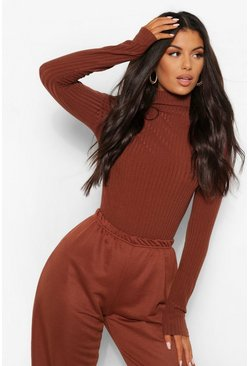Chocolate Turtle Neck Knitted Rib Top