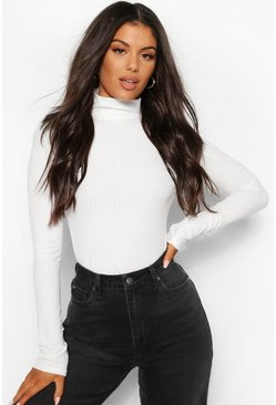 Ecru Turtle Neck Knitted Rib Top
