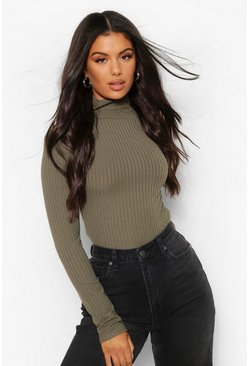 Khaki Turtle Neck Knitted Rib Top