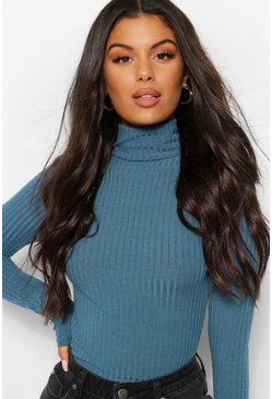 Teal Turtle Neck Knitted Rib Top