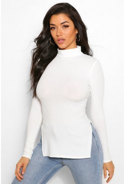 Ecru white Side Split Turtle Neck Knitted Rib Top