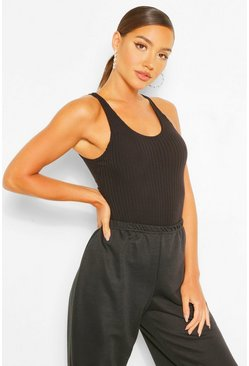 Black Scoop Neck Sleeveless Knitted Rib Bodysuit