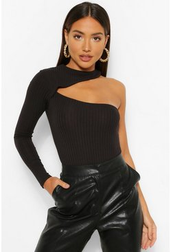 Black Cut Out 1 Shoulder Knitted Rib Bodysuit