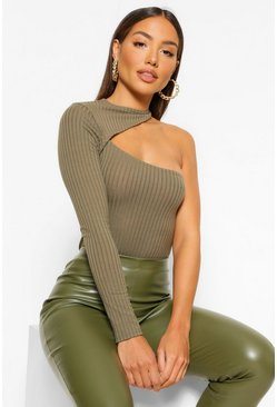 Khaki Cut Out 1 Shoulder Knitted Rib Bodysuit