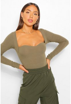 Khaki Sweetheart Neck Knitted Rib Bodysuit