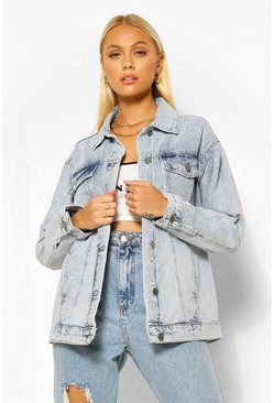 Mid blue blue Oversized Vintage Wash Pocket Denim Jacket