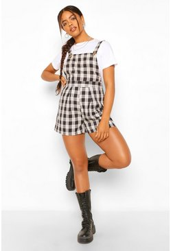 Black Woven Check Pinafore Pleat Hem Playsuit