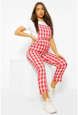 Red Woven Check Tapered Leg Pinafore Jumpsuit