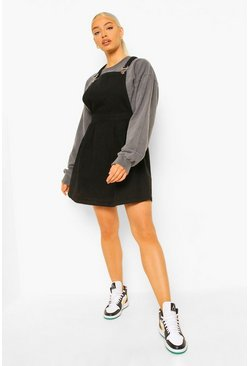 Black Denim Skater Pinafore Dress