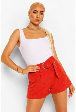 Rust orange Baby Cord High Waist Belted Pocket Shorts