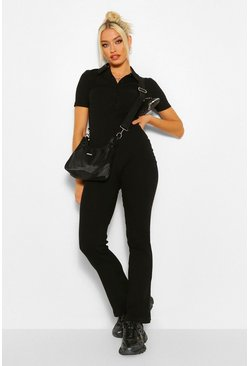 Black Rib Collared Button Fastening Flared Jumpsuit