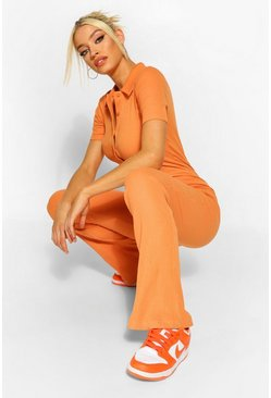Caramel beige Rib Collared Button Fastening Flared Jumpsuit