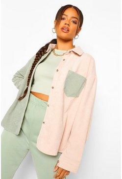 Sage green Cord Colour Block Oversized Shirt