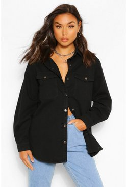Denim Twill Shirt Top, Black negro