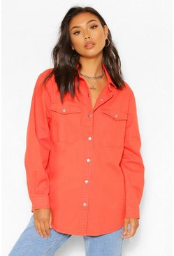 Denim Twill Shirt Top, Orange naranja