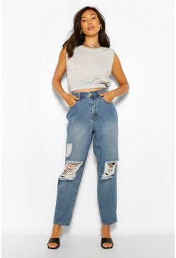 Mid blue Vintage Wash High Rise Distressed Dad Jeans