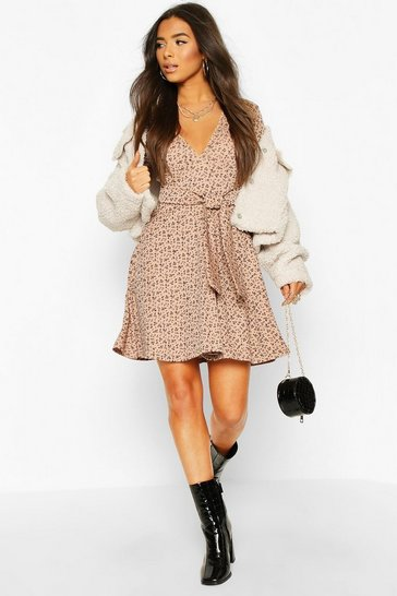 Nude Rib Floral Print Belted Skater Dress