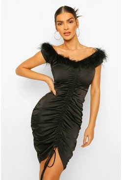 Black Feather Trim Off The Shoulder Midi Dress