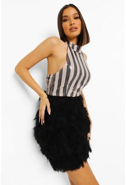 Black Stripe Sequin Feather Skirt Mini Dress