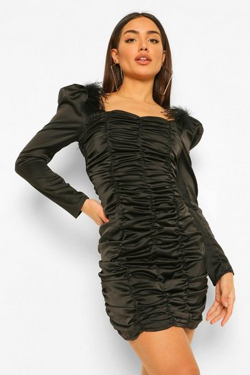 Black Satin Feather Trim Rouched Mini Dress