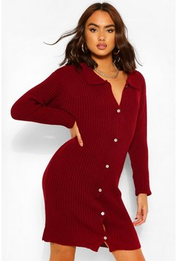 Berry Polo Collar Rib Knit Dress