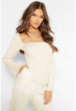 Ivory white Square Neck Side Split Rib Knit Jumper
