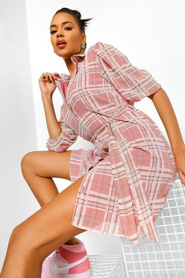 Multi Checked Puff Sleeve Shirt Dress