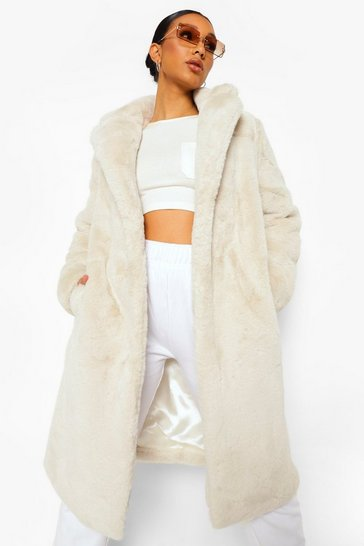 Natural beige Plush Faux Fur Belted Robe Coat