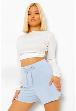 Blue Petite Soft Loopback Drawcord Shorts