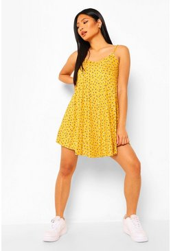 Yellow Petite Ditsy Floral Swing Dress