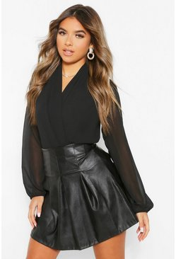 Black Petite Basic Wrap Over Body