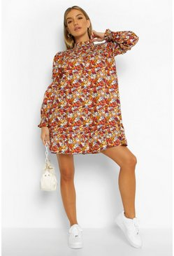 High Neck Long Sleeve Floral Mini, Multi Мульти
