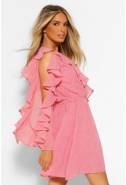 Spot Extreme Ruffle Mini Dress, Pink rosa