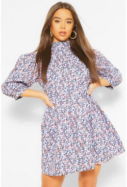 High Neck Floral Mini Dress, Multi