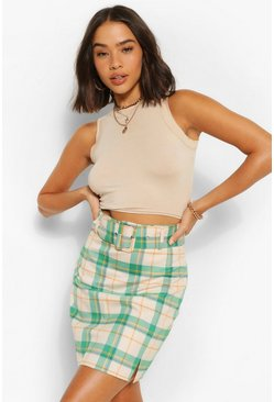 Belted Check Mini Skirt, Multi Мульти