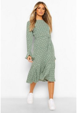 Green Long Sleeve Tie Waist Floral Maxi Dress