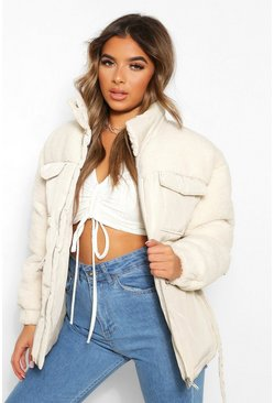 Natural Petite Teddy faux fur mix belted puffer