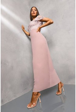 Pink Embellished Chiffon Maxi Dress