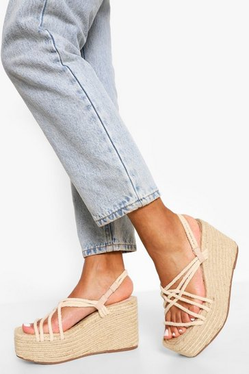 Cream white Square Toe Espadrille Wedge Sandals