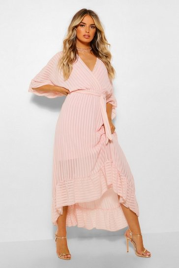 Nude Pleated Ruffle Hem Midaxi Dress