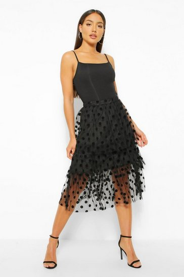 Black Spot Tulle Midi Skirt