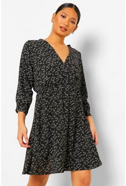 Black Petite Ditsy Floral Wrap Front Dress