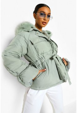 Green Faux Fur Trim Pocket Detail Puffer