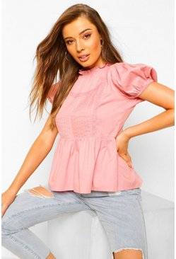 High Neck Peplum Blouse With Crochet Detail, Pink rosa