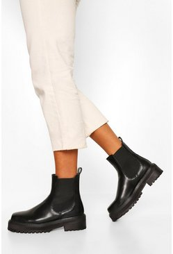 Black Square Toe Chunky Chelsea Boots