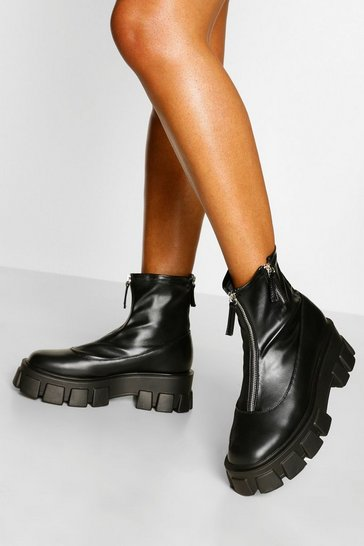 Black Zip Detail Chunky Platform Sock Boots
